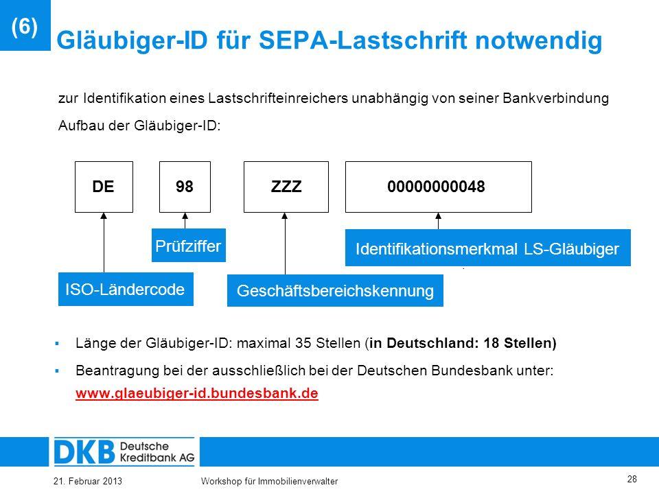 Gläubiger-ID für SEPA-Lastschrift notwendig