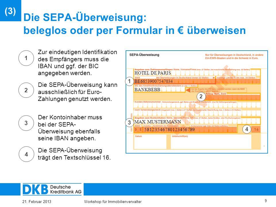 Die SEPA-Überweisung: beleglos oder per Formular in € überweisen