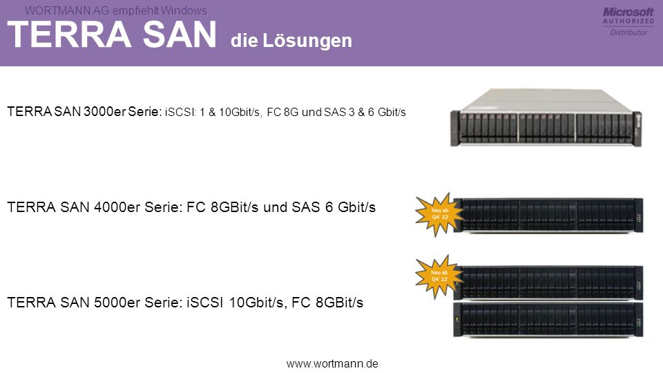 TERRA SAN die LösungenTERRA SAN 3000er Serie: iSCSI: 1 & 10Gbit/s, FC 8G und SAS 3 & 6 Gbit/s.