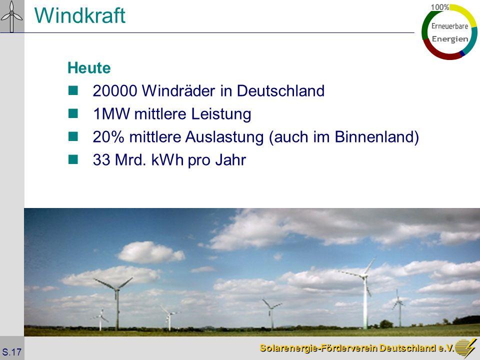Windkraft Heute 20000 Windräder in Deutschland 1MW mittlere Leistung