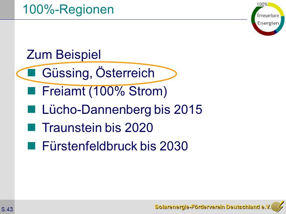 100%-Regionen Zum Beispiel. Güssing, Österreich. Freiamt (100% Strom) Lücho-Dannenberg bis 2015.