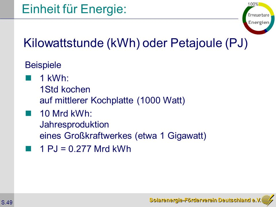 Kilowattstunde (kWh) oder Petajoule (PJ)