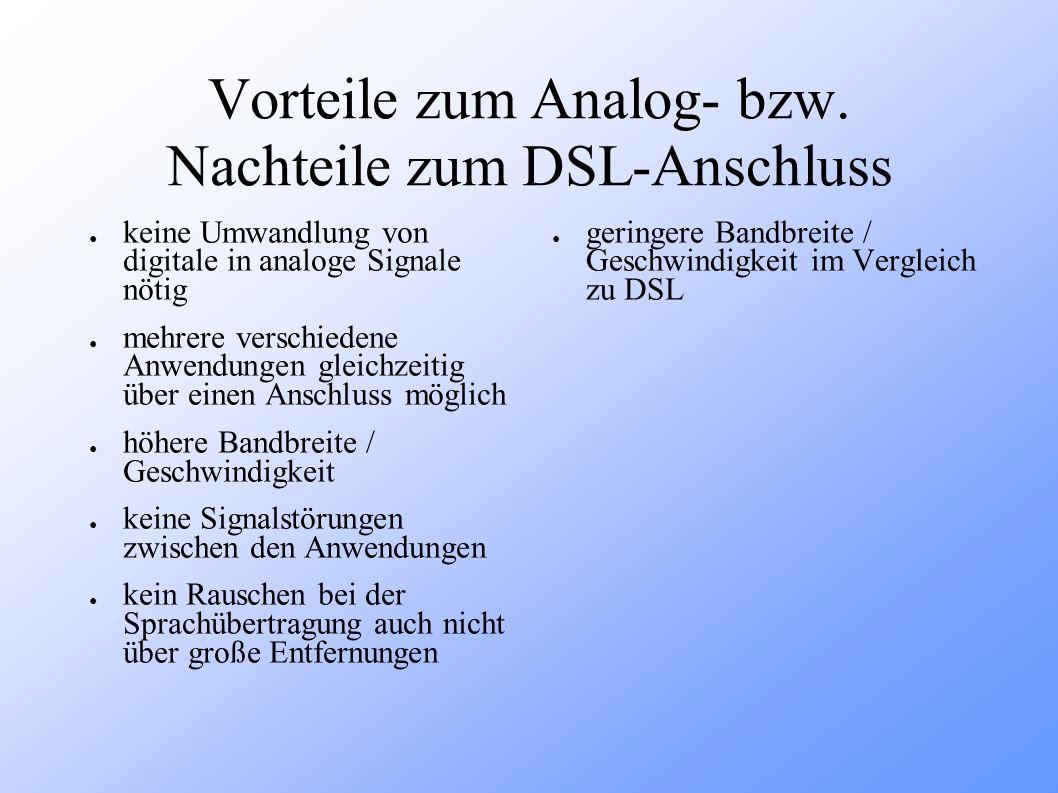 Vorteile zum Analog- bzw. Nachteile zum DSL-Anschluss
