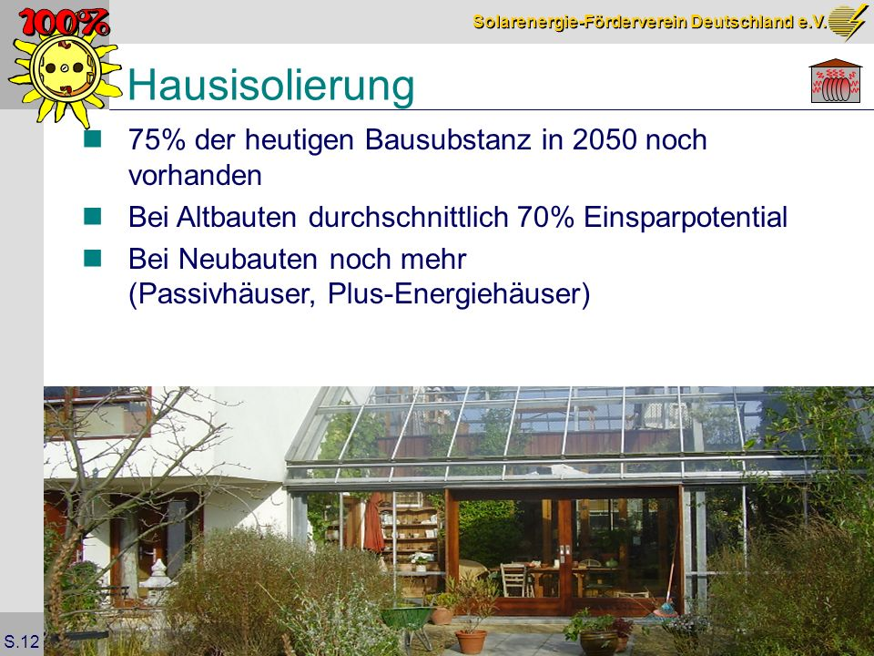 Hausisolierung 75% der heutigen Bausubstanz in 2050 noch vorhanden