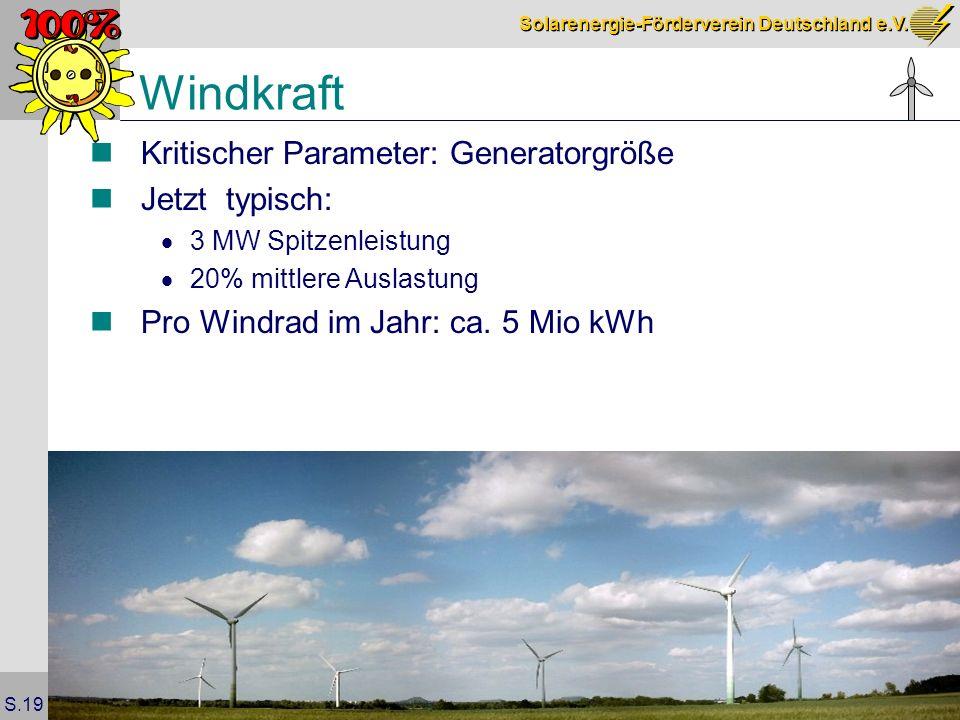 Windkraft Kritischer Parameter: Generatorgröße Jetzt typisch: