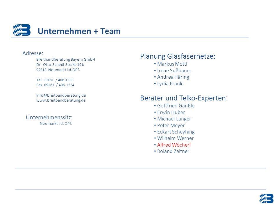 Unternehmen + Team Planung Glasfasernetze: Berater und Telko-Experten: