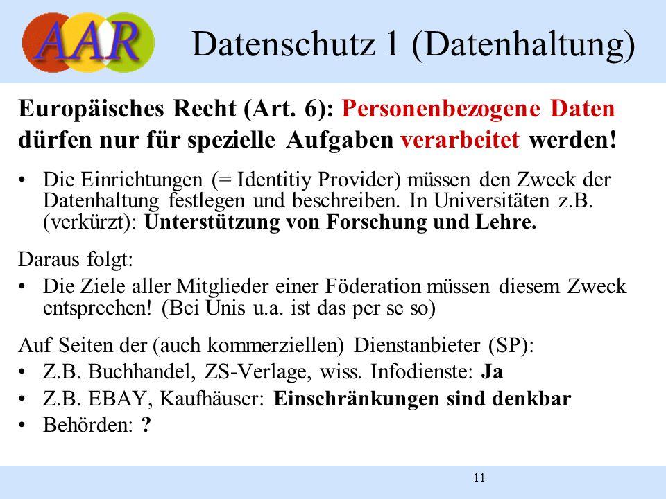 Datenschutz 1 (Datenhaltung)