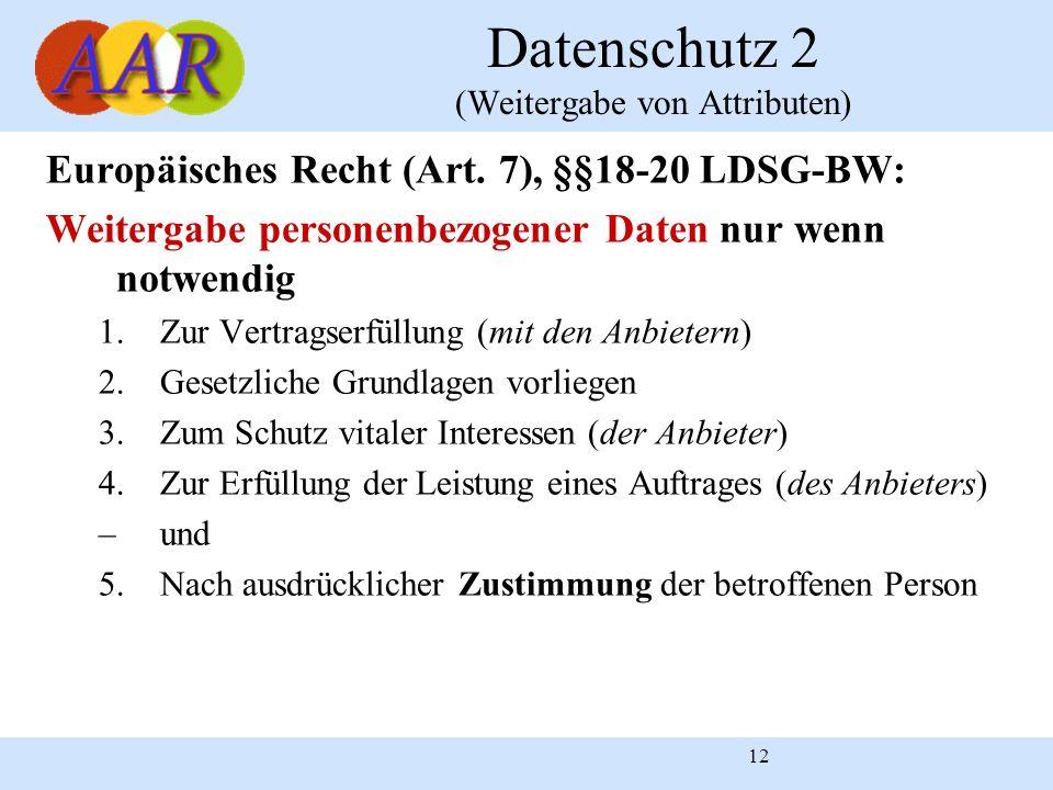Datenschutz 2 (Weitergabe von Attributen)