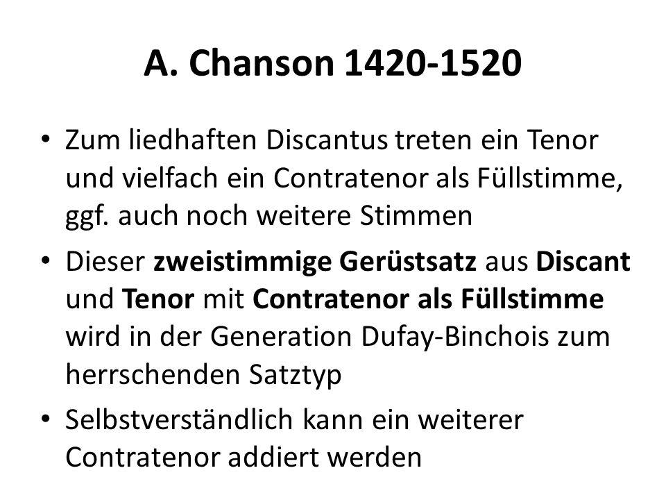 A. Chanson 1420-1520 Zum liedhaften Discantus treten ein Tenor und vielfach ein Contratenor als Füllstimme, ggf. auch noch weitere Stimmen.