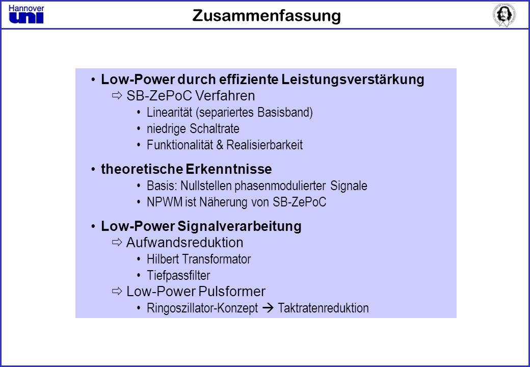 Zusammenfassung Low-Power durch effiziente Leistungsverstärkung