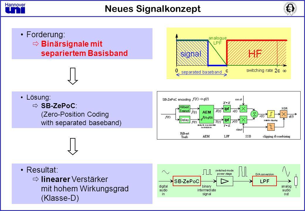 Neues Signalkonzept Forderung: Binärsignale mit separiertem Basisband