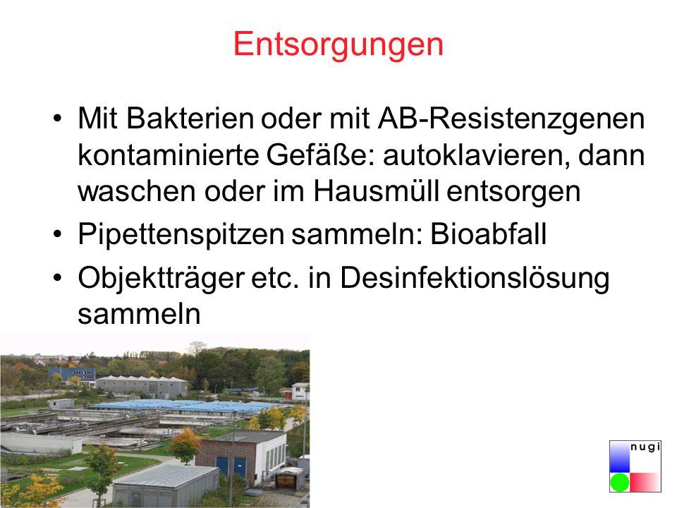 Entsorgungen Mit Bakterien oder mit AB-Resistenzgenen kontaminierte Gefäße: autoklavieren, dann waschen oder im Hausmüll entsorgen.