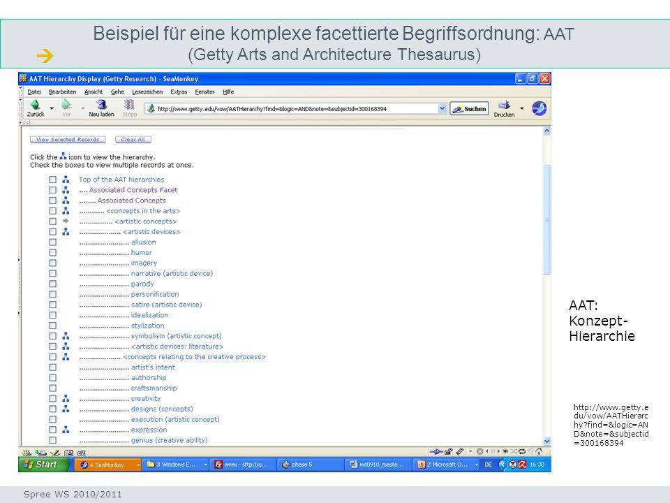 Beispiel für eine komplexe facettierte Begriffsordnung: AAT (Getty Arts and Architecture Thesaurus)
