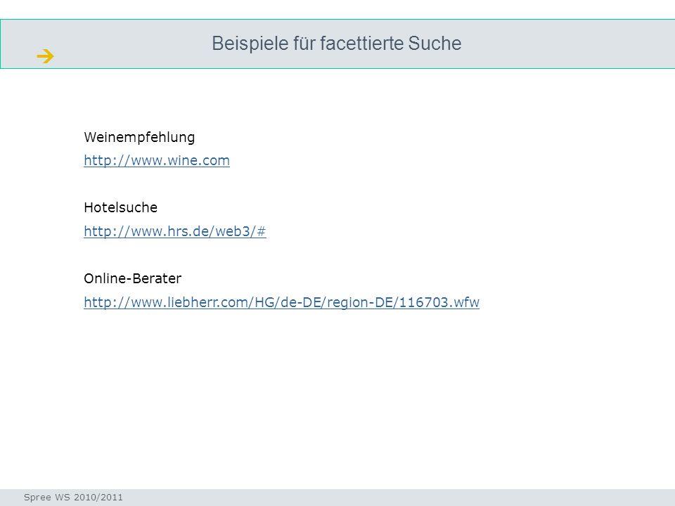 Beispiele für facettierte Suche