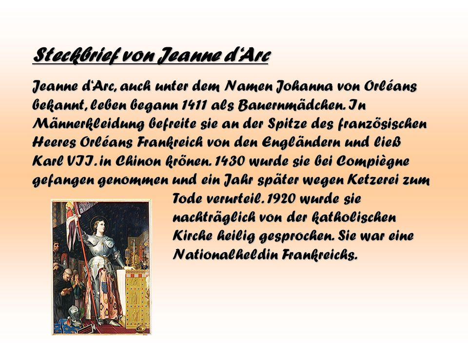 Steckbrief von Jeanne d'Arc