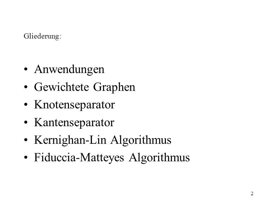 Kernighan-Lin Algorithmus Fiduccia-Matteyes Algorithmus