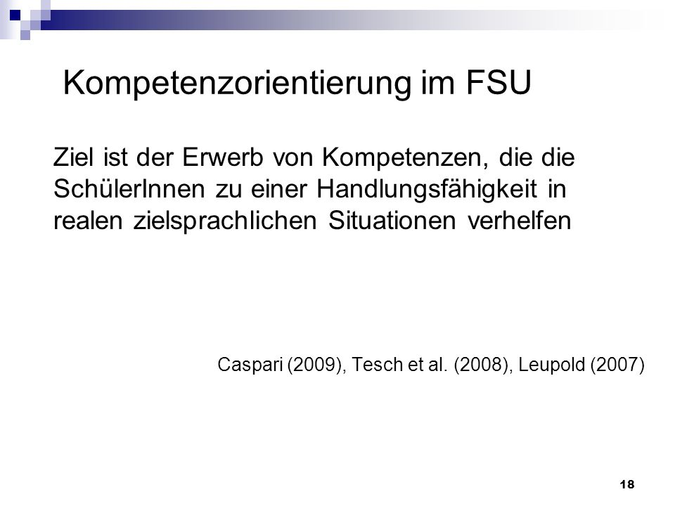 Kompetenzorientierung im FSU