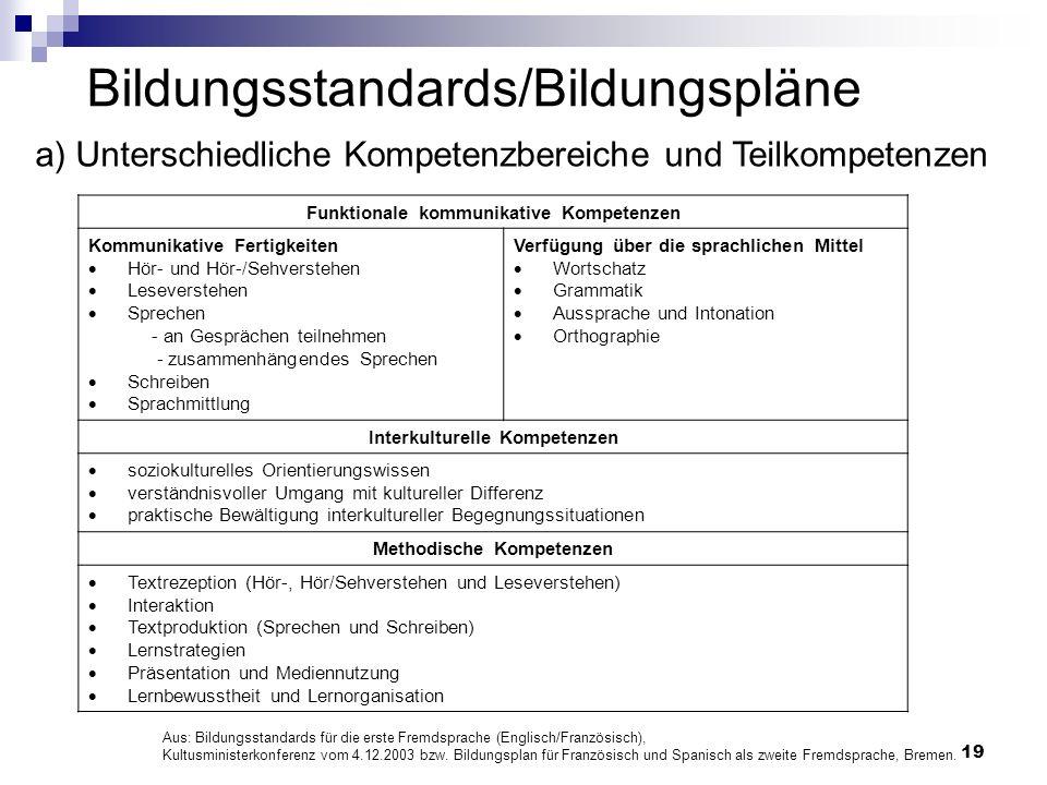 Bildungsstandards/Bildungspläne