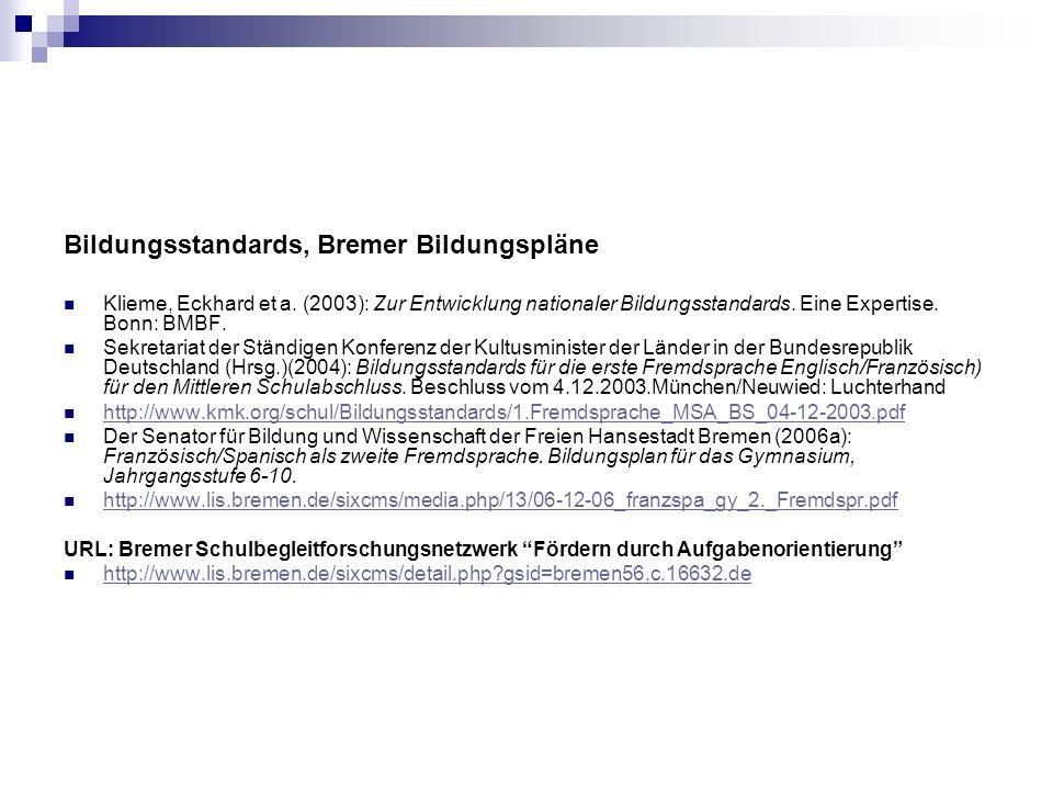 Bildungsstandards, Bremer Bildungspläne