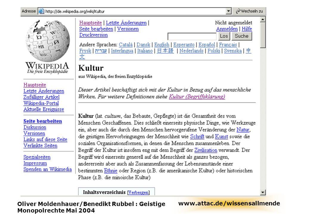 wikipedia Oliver Moldenhauer/Benedikt Rubbel : Geistige Monopolrechte Mai 2004