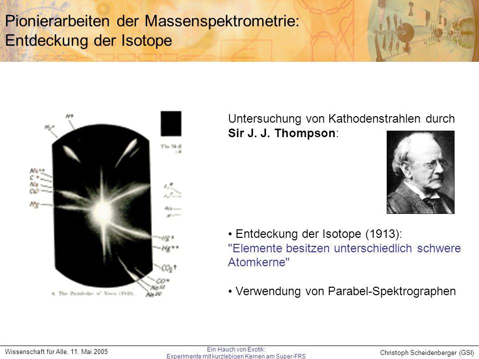 Pionierarbeiten der Massenspektrometrie: Entdeckung der Isotope