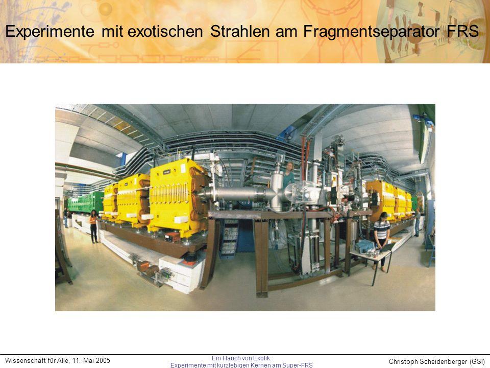 Experimente mit exotischen Strahlen am Fragmentseparator FRS