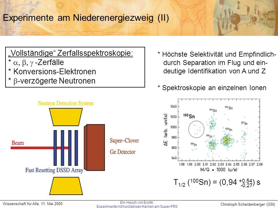 Experimente am Niederenergiezweig (II)