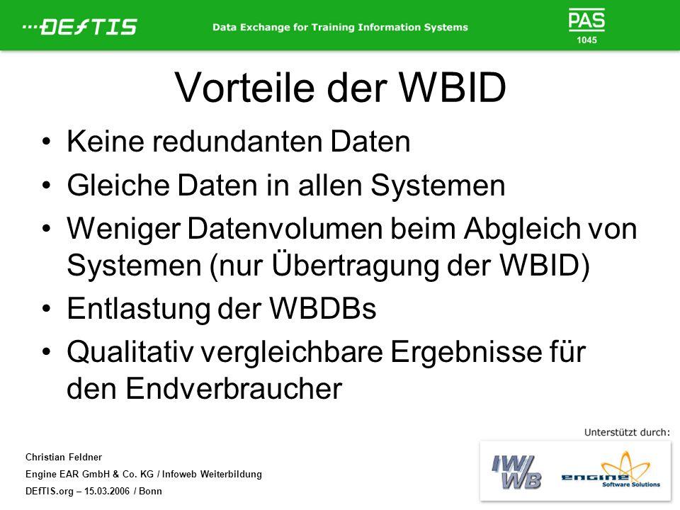 Vorteile der WBID Keine redundanten Daten