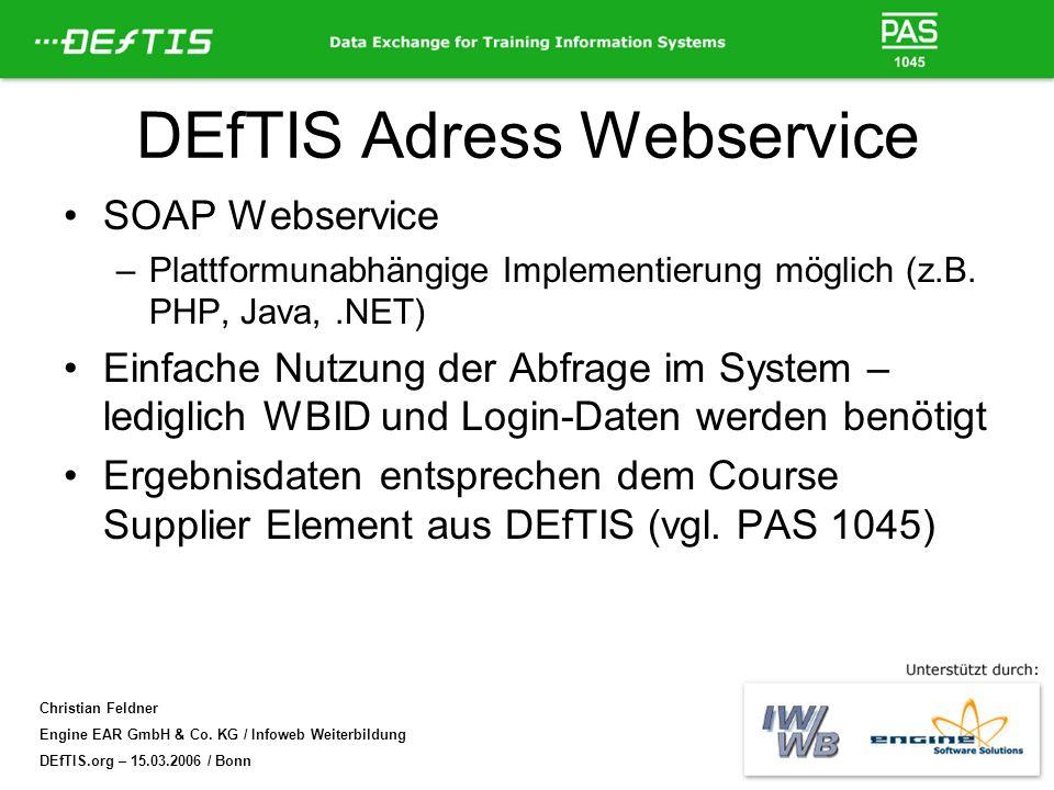 DEfTIS Adress Webservice