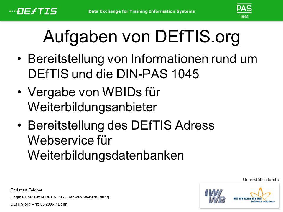 Aufgaben von DEfTIS.org
