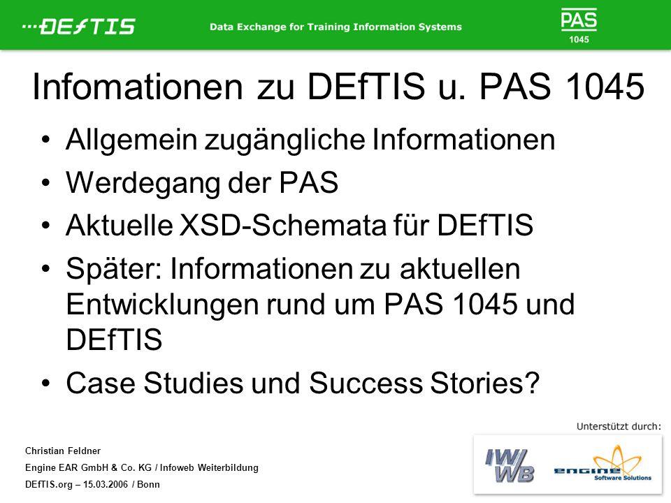 Infomationen zu DEfTIS u. PAS 1045