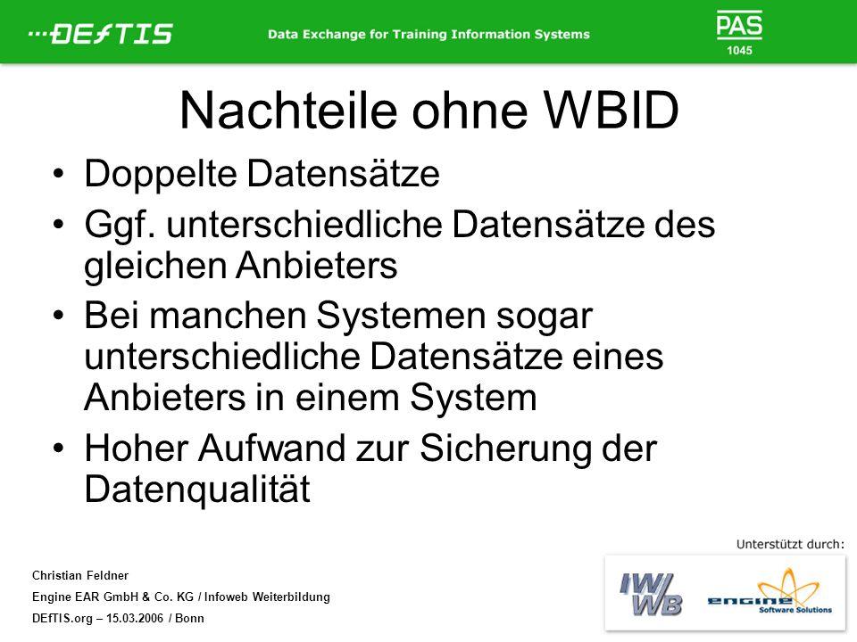 Nachteile ohne WBID Doppelte Datensätze