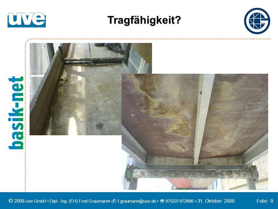 Tragfähigkeit © 2008 uve GmbH ▪ Dipl.- Ing. (FH) Fred Graumann▪  f.graumann@uve.de ▪  07522/ 972990 ▪ 31. Oktober 2008 Folie: 9.