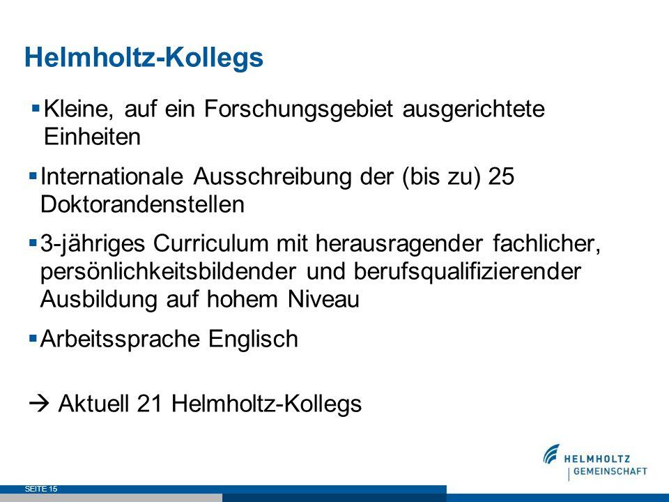 Helmholtz-KollegsKleine, auf ein Forschungsgebiet ausgerichtete Einheiten. Internationale Ausschreibung der (bis zu) 25 Doktorandenstellen.