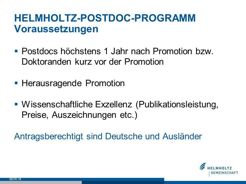 HELMHOLTZ-POSTDOC-PROGRAMM Voraussetzungen