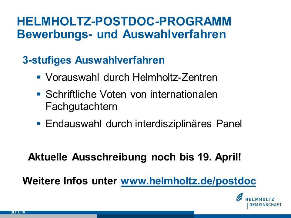 HELMHOLTZ-POSTDOC-PROGRAMM Bewerbungs- und Auswahlverfahren