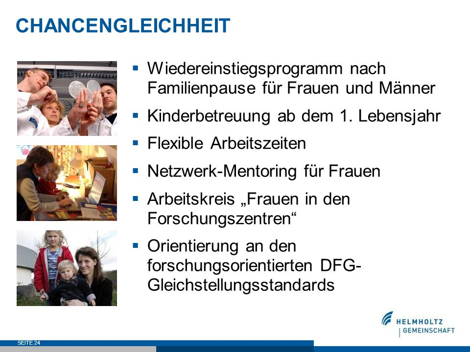 CHANCENGLEICHHEITWiedereinstiegsprogramm nach Familienpause für Frauen und Männer. Kinderbetreuung ab dem 1. Lebensjahr.