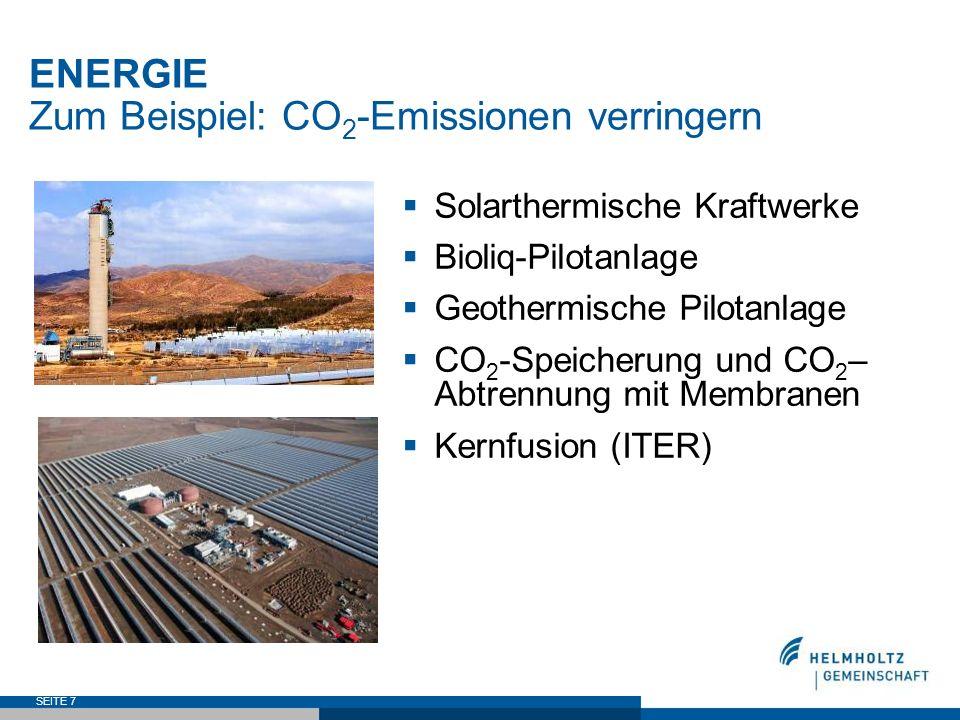 ENERGIE Zum Beispiel: CO2-Emissionen verringern
