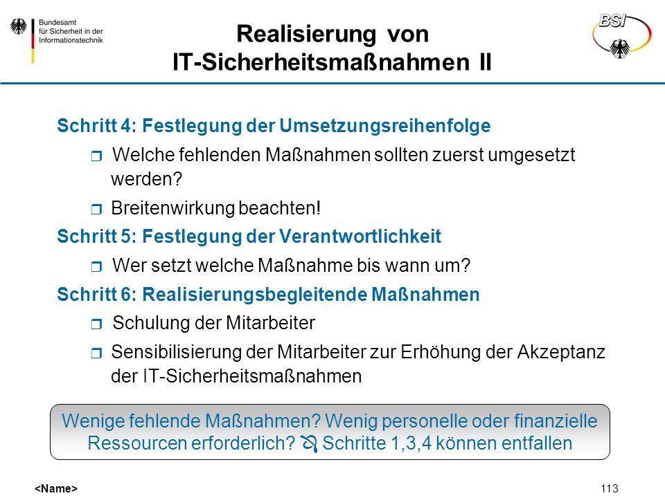 Realisierung von IT-Sicherheitsmaßnahmen II