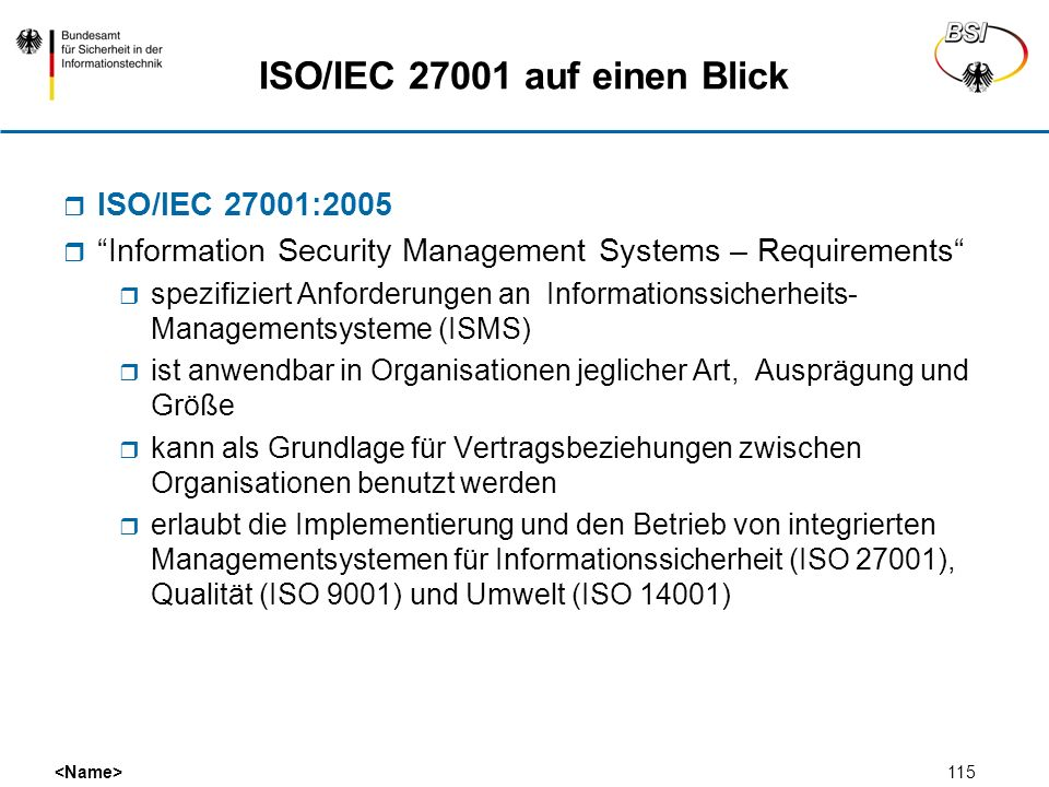ISO/IEC 27001 auf einen Blick
