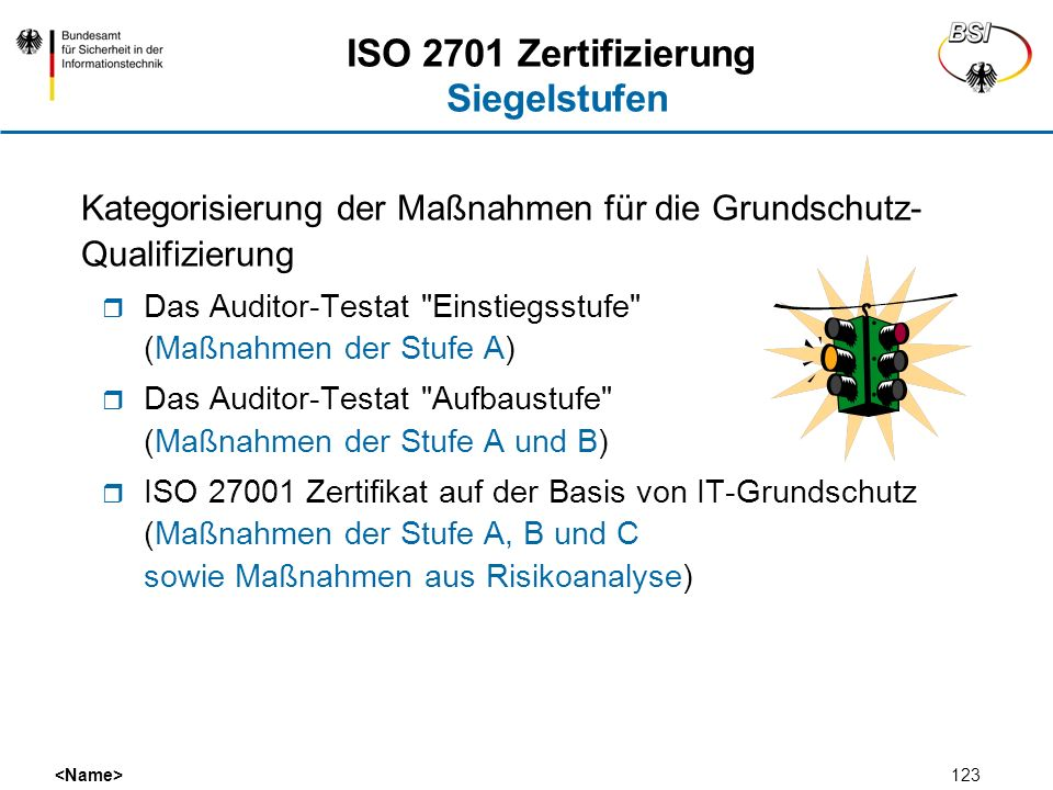 ISO 2701 Zertifizierung Siegelstufen