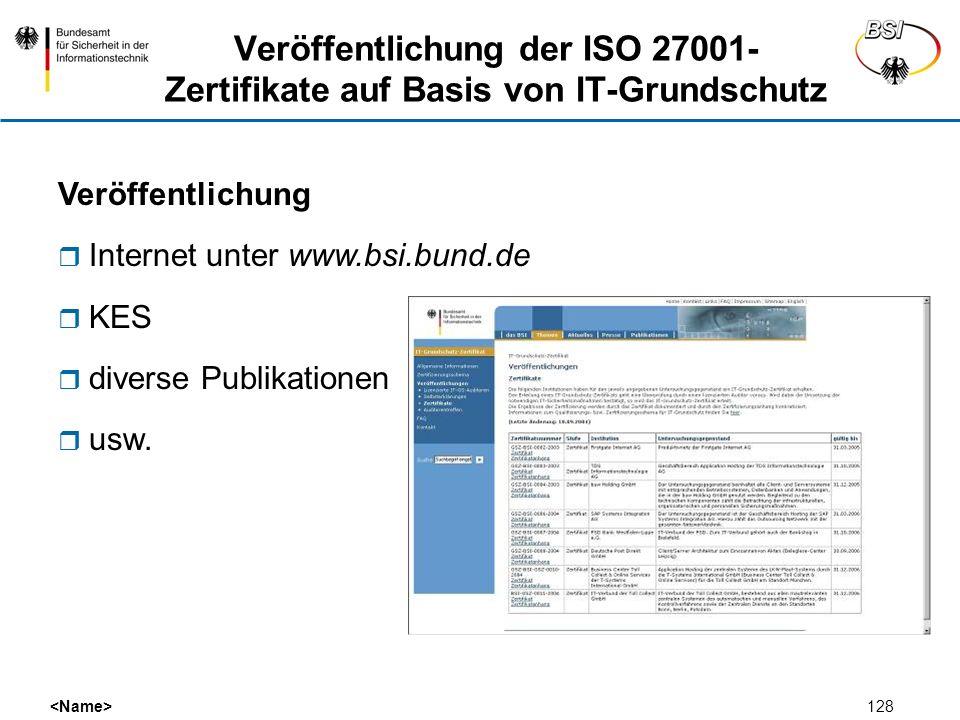 Veröffentlichung der ISO 27001-Zertifikate auf Basis von IT-Grundschutz