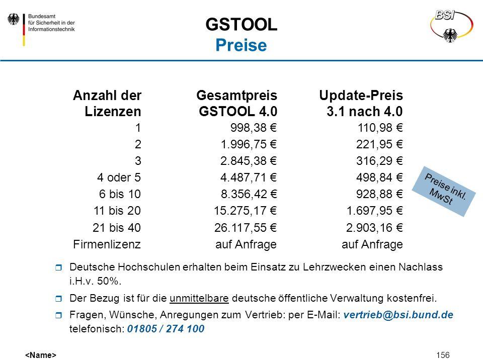 GSTOOL Preise Anzahl der Gesamtpreis Update-Preis Lizenzen GSTOOL 4.0 3.1 nach 4.0. 1 998,38 € 110,98 €