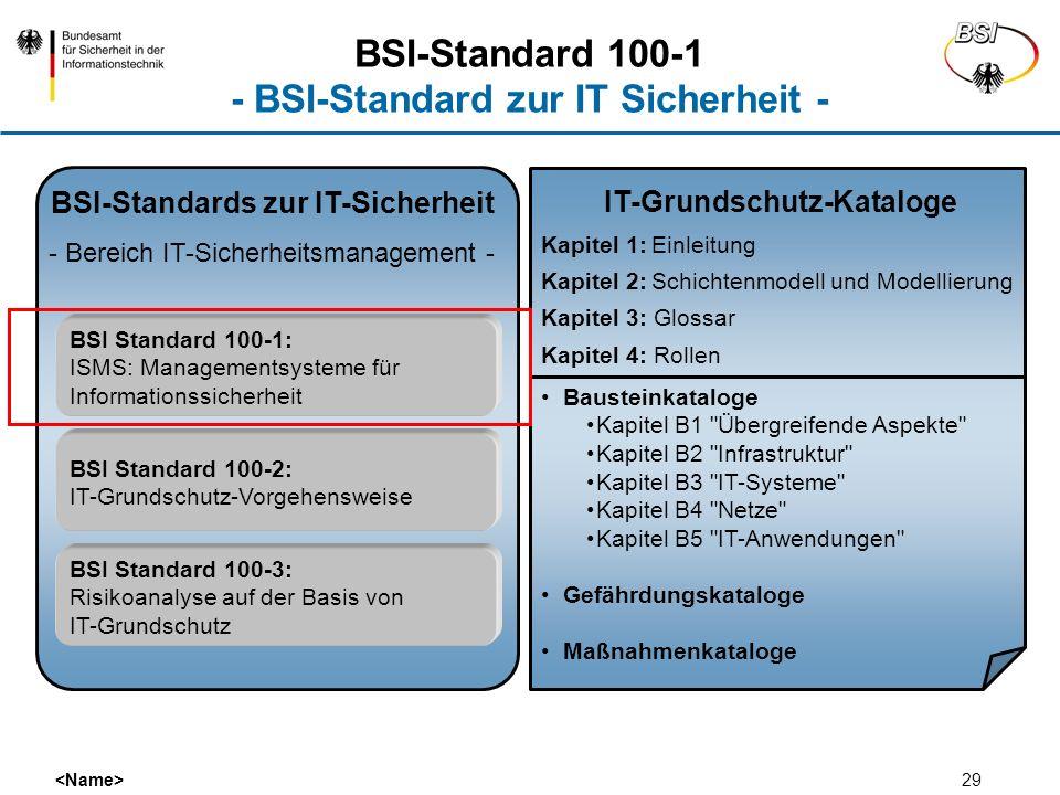 BSI-Standard 100-1 - BSI-Standard zur IT Sicherheit -