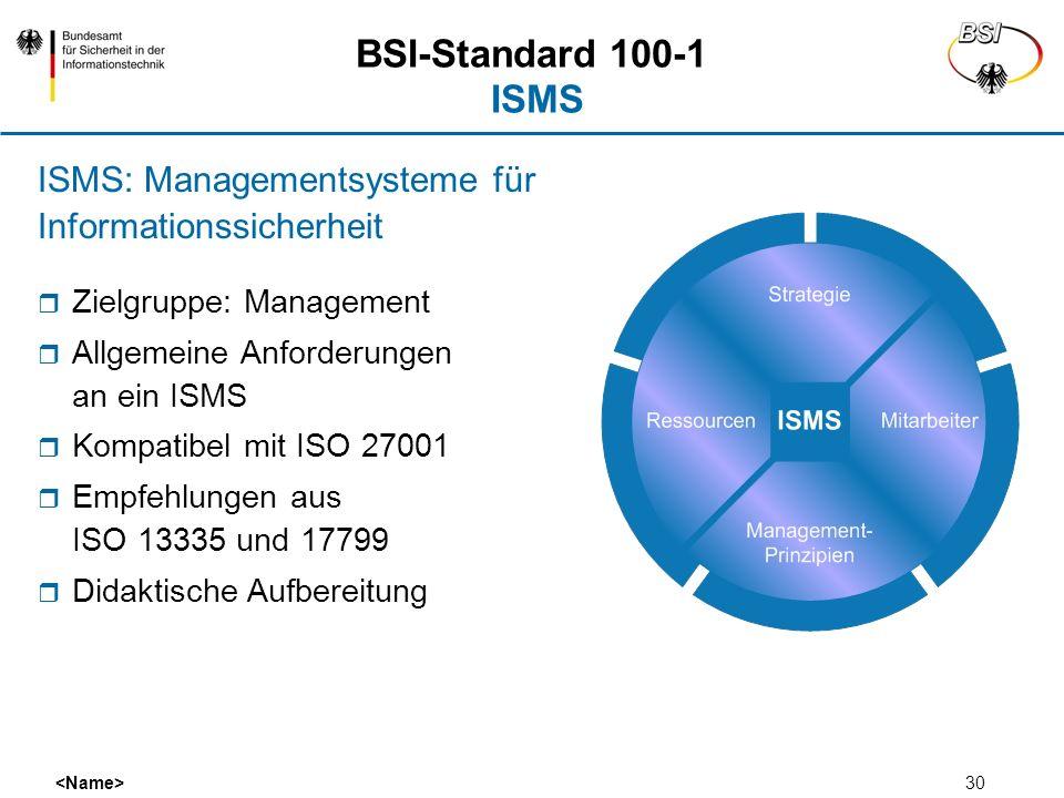 BSI-Standard 100-1 ISMSISMS: Managementsysteme für Informationssicherheit. Zielgruppe: Management.