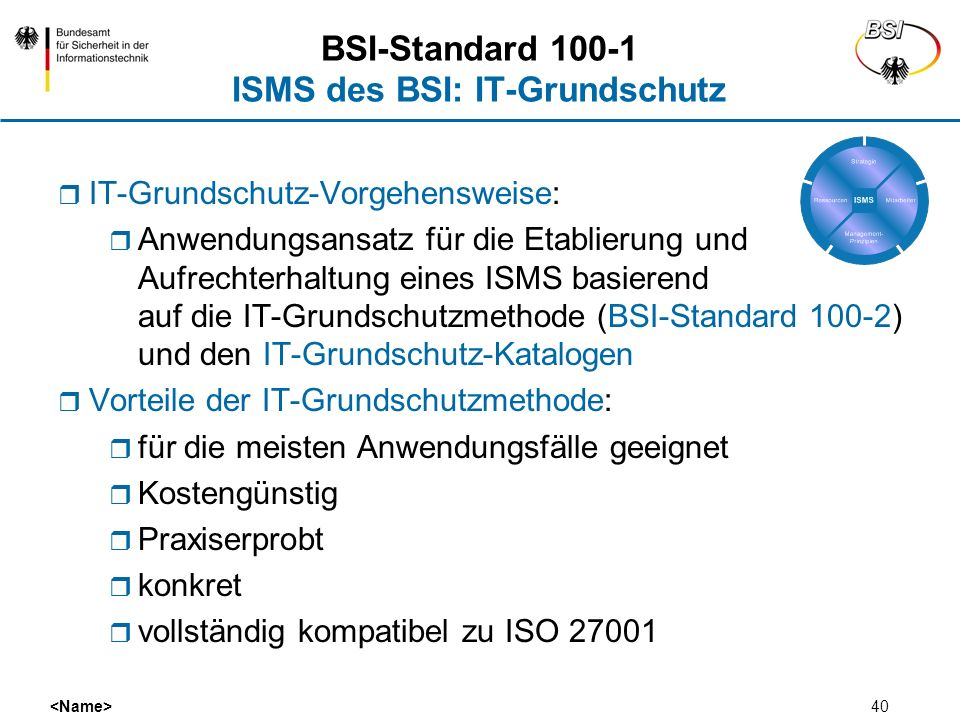 BSI-Standard 100-1 ISMS des BSI: IT-Grundschutz