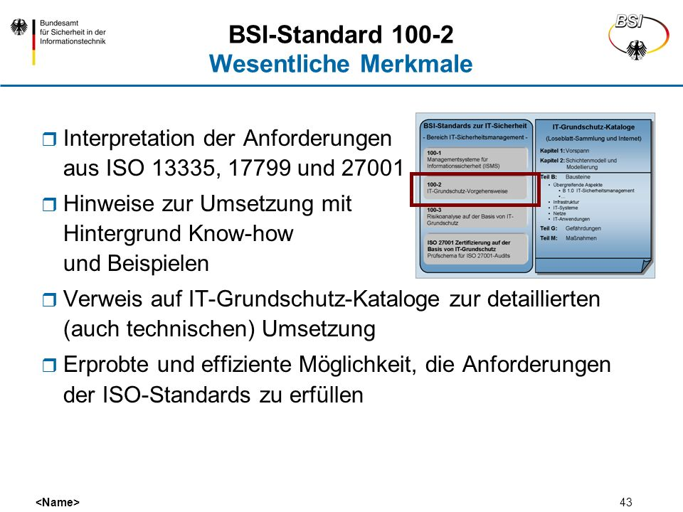 BSI-Standard 100-2 Wesentliche Merkmale