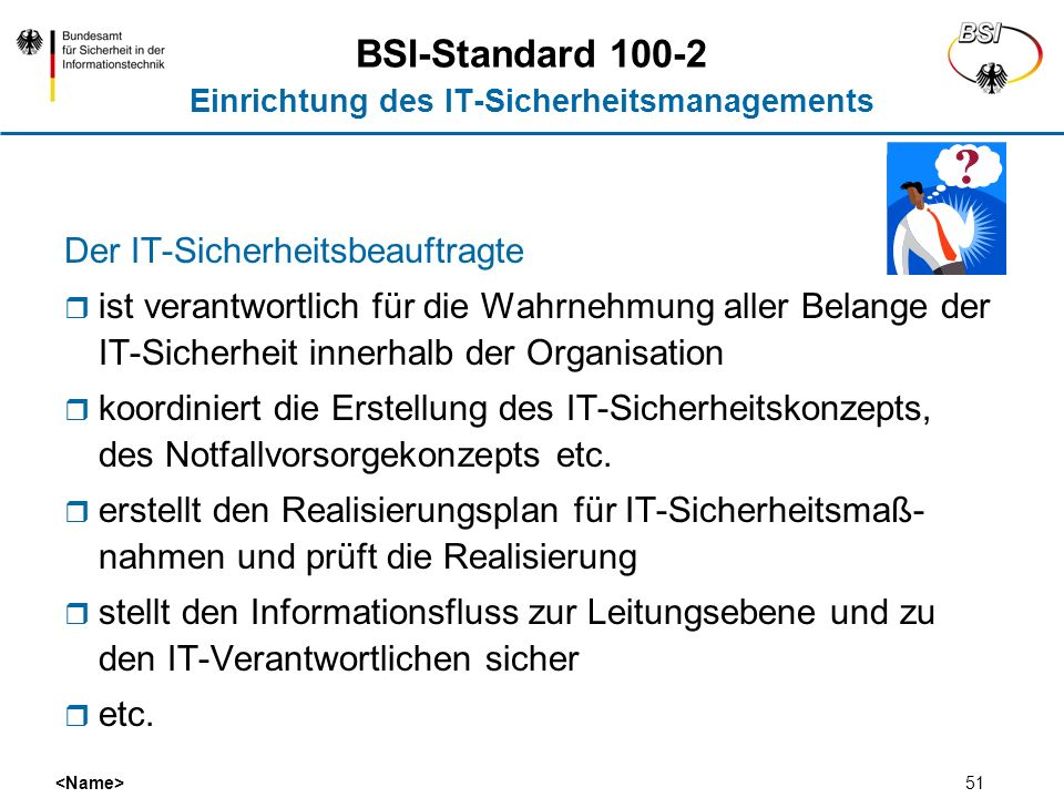 BSI-Standard 100-2 Einrichtung des IT-Sicherheitsmanagements