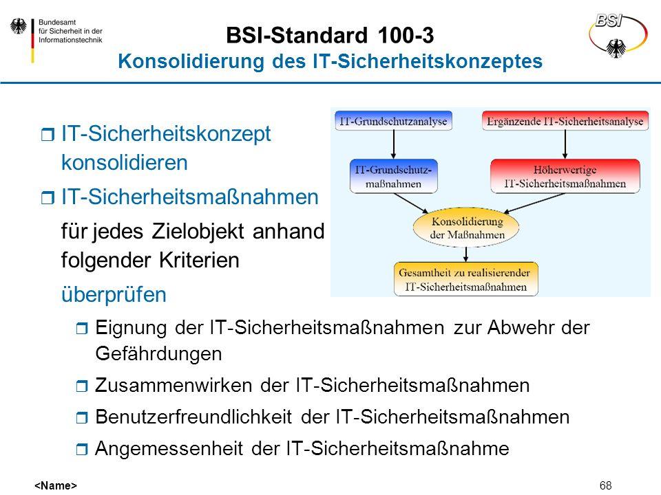 BSI-Standard 100-3 Konsolidierung des IT-Sicherheitskonzeptes