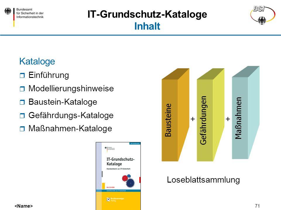 IT-Grundschutz-Kataloge Inhalt